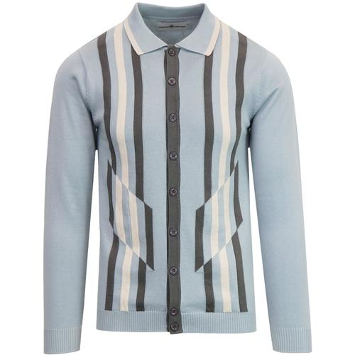 Madcap England Kazimir Men's 1960s Mod Abstract Stripe Polo Cardigan in Blue Fog