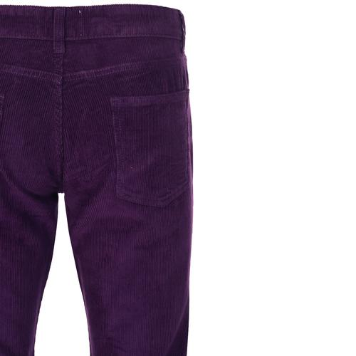 Madcap England Retro 70s Needle Cord Killer Flares in Imperial Purple