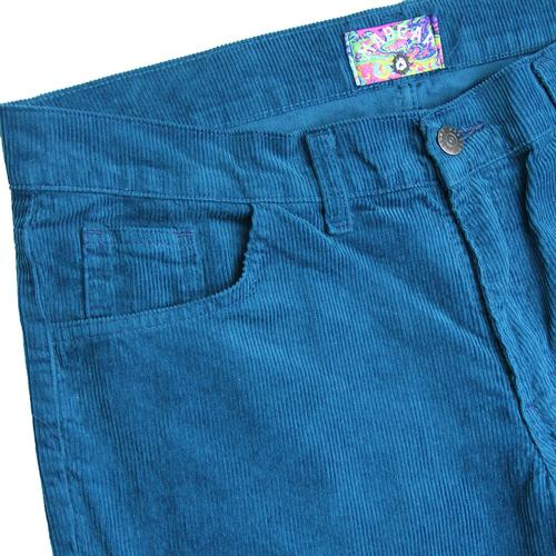 Madcap England Killer Men's Retro 1970s Corduroy Flared Trousers in Ink Blue