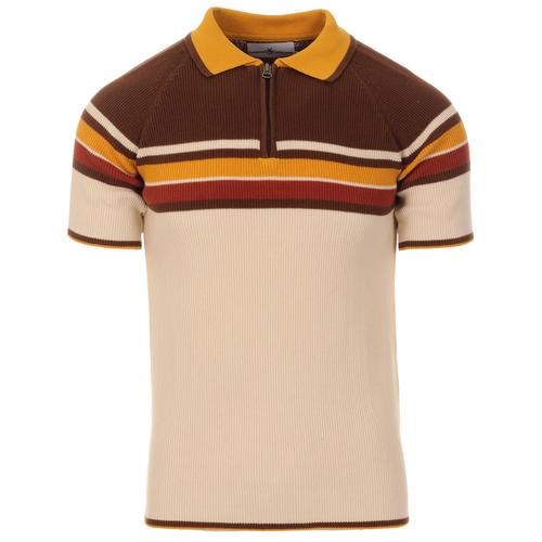 Madcap England Meteor Retro 70s Mod Ribbed Stripe Panel Polo Shirt in Birch