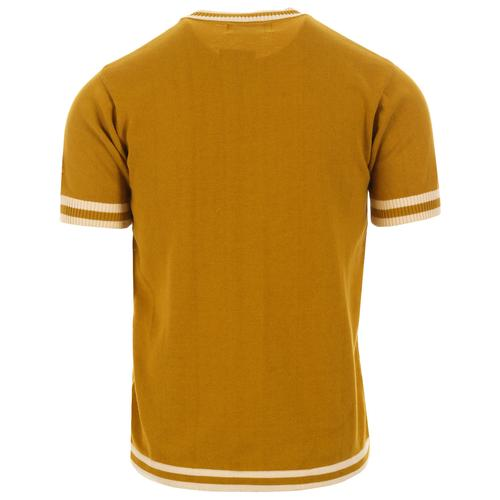 Madcap England Modernista Retro 1960s Mod Knitted Contoured Stripe Tee in Honey