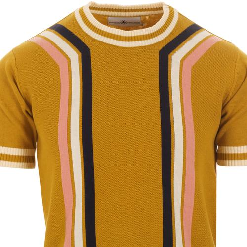 Madcap England Modernista Retro 60s Mod Knitted Contoured Stripe Tee in Honey