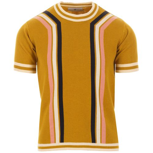 Madcap England Modernista Retro Mod Knitted Contoured Stripe Tee in Honey