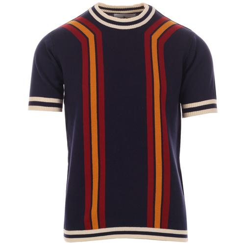 Madcap England Modernista Retro 1970s Waffle Texture Contoured Stripe Knit Tee in Eclipse
