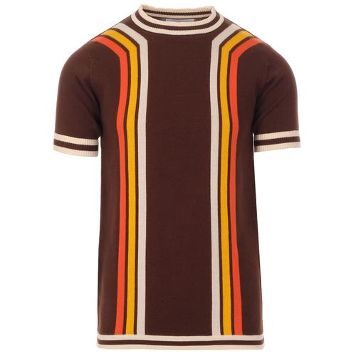Madcap England Modernista Retro 1970s Waffle Texture Contoured Stripe Knit Tee in Potting Soil