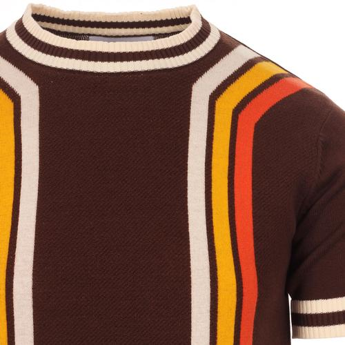 Madcap England Modernista Retro 1970s Mod Waffle Texture Contoured Stripe Knit Tee in Potting Soil