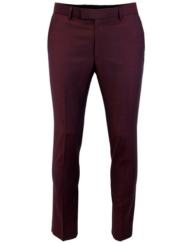 MADCAP ENGLAND Mohair Tonic Suit Trousers BURGUNDY