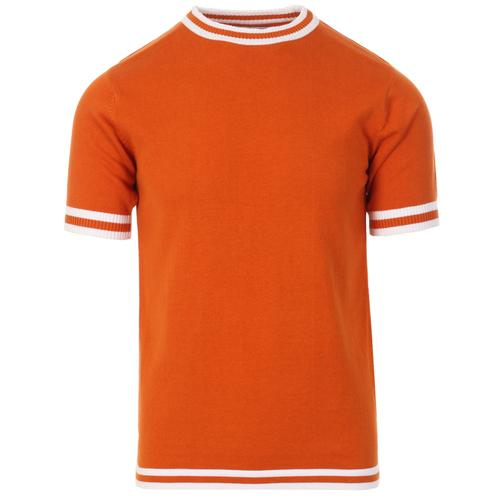 Madcap England Moon Retro Mod Knitted Tipped T-shirt in Burnt Orange