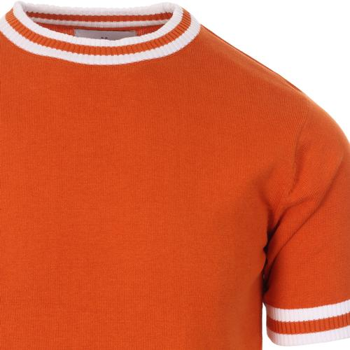 Madcap England Moon 60s Mod Knitted Tipped T-shirt in Burnt Orange