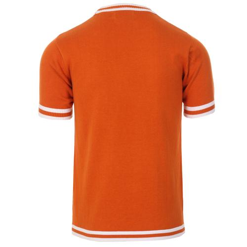 Madcap England Moon Retro 1960s Mod Knitted Tipped T-shirt in Burnt Orange