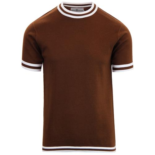 Madcap England Men's Retro 1960s Mod Tipped Knit T-shirt in Bison Brown