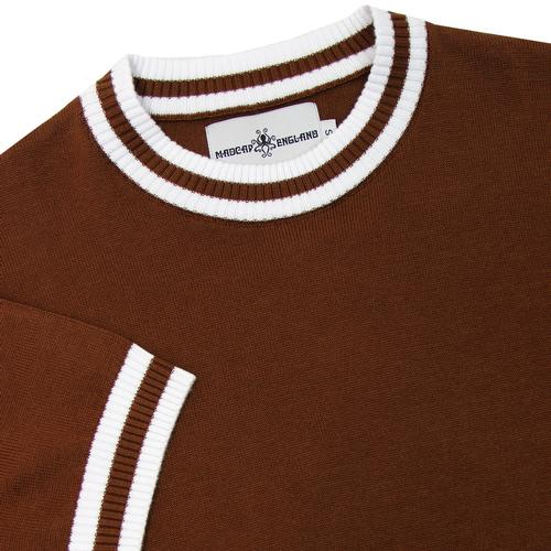 Madcap England 1960s Mod Tipped Knit Tee in Bison Brown