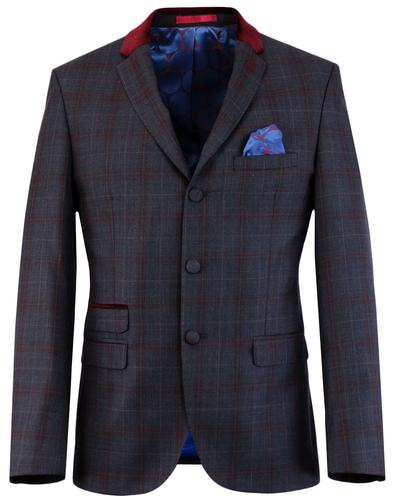 madcap england mod check velvet collar suit jacket