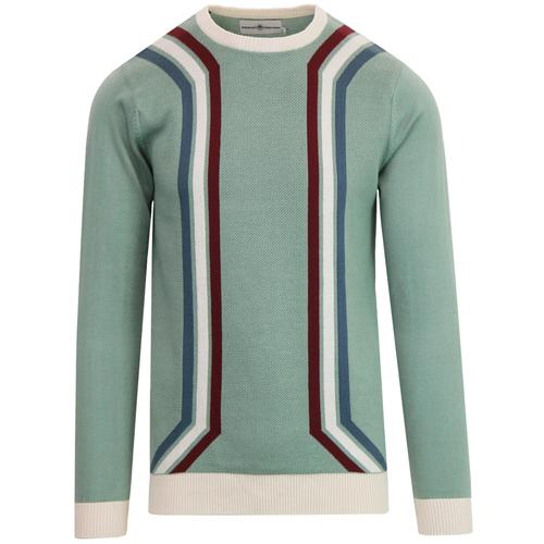Madcap England New Spirit Men's Mod Waffle Stripe Jumper in Lillypad