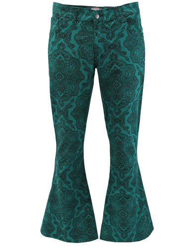 madcap england paisley rave bellbottom flares teal