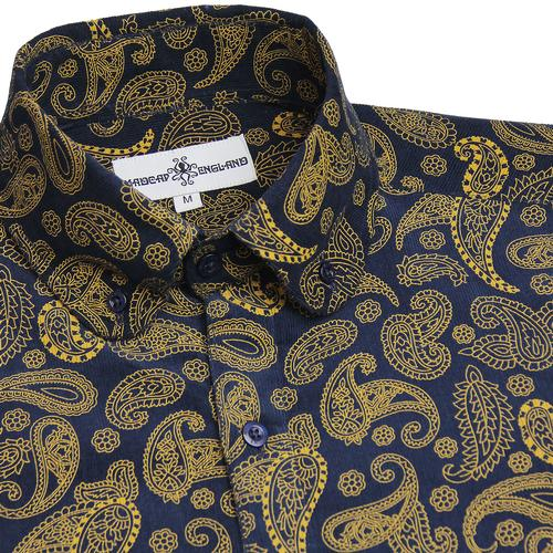 Madcap England Kinfauns Retro 60s Mod Cord Paisley Button Down Penny Collar shirt in Navy