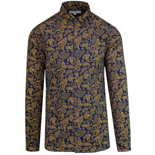 Madcap England Kinfauns 1960s Mod Cord Paisley penny Collar shirt in Navy