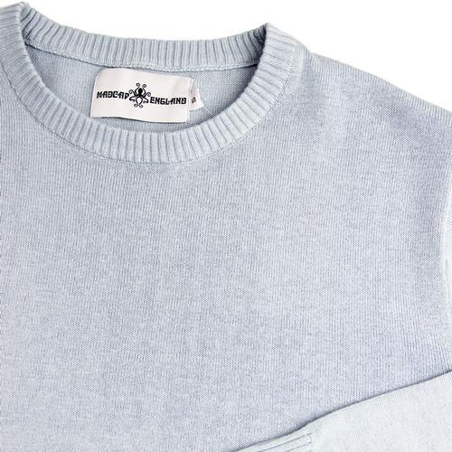 Madcap England McQueen Retro 1960s Mod Knit Crew Neck Jumper in Blue Fog