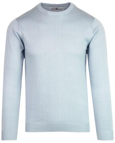 Madcap England McQueen Men's 1960s Mod Crew Neck Jumper in Blue Fog