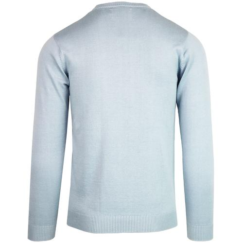 Madcap England McQueen Men's Retro 1960s Mod Knitted Crew Neck Jumper in Blue Fog