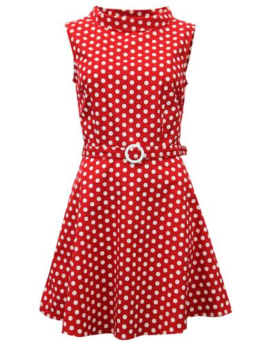 MADCAP ENGLAND RETRO MOD 60s MINI DRESS POLKA DOT