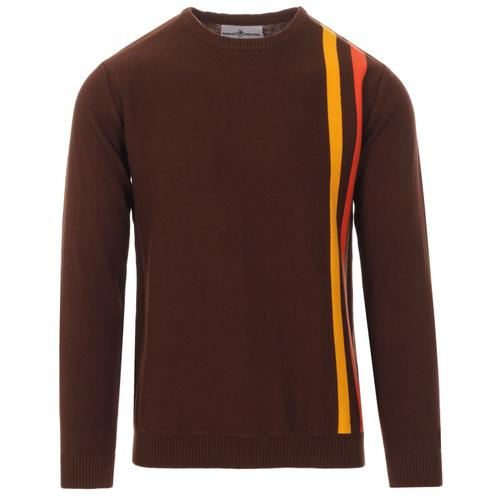 Madcap England Action 1960s Mod Racing Stripe Jumper in Potting Soil
