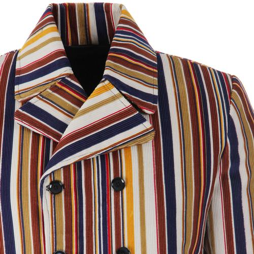 Madcap England Rare Breed Stripe Men's Retro Mod Double Breasted Blazer Jacket in Stone