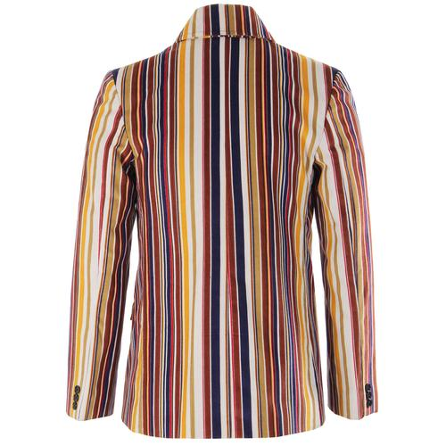Madcap England Rare Breed Stripe Men's 60s Mod Double Breasted Blazer Jacket in Stone