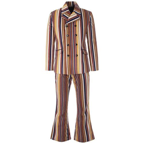 Madcap England Rare Breed Stripe Men's Retro Mod Double Breasted Cord Suit in Stone