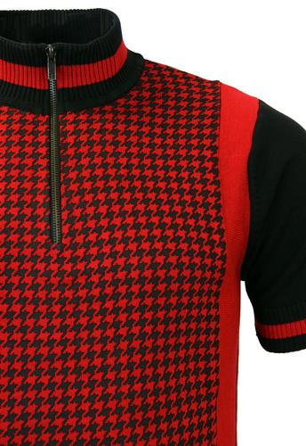 Madcap England Roue Retro Mod Dogtooth Knit Cycling Top In Red