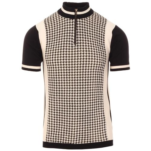Madcap England Roue Men's Retro Mod Dogtooth Knit Cycling Top in Black and White