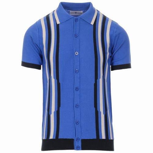 Madcap England Shockwave Men's 60s Mod Abstract Stripe Knit Polo Shirt in Amparo Blue