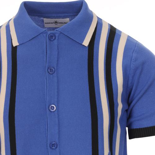 Madcap England Shockwave Retro 1960s Mod Abstract Stripe Knit Polo Top in Amparo Blue