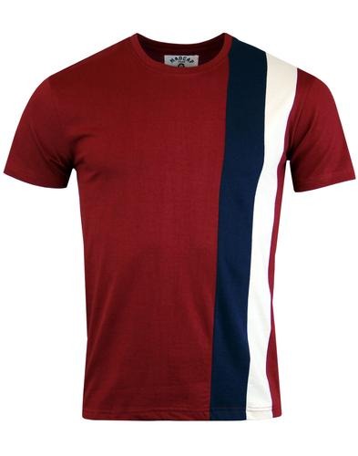 madcap england ogden retro mod side stripe tee red