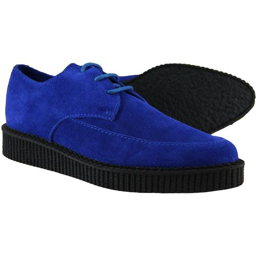 Madcap England Stray Cat Womens 1950s Blue Suede Brothel Creepers
