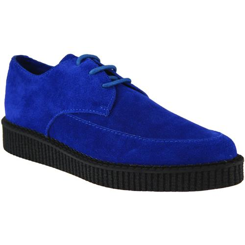 Madcap England, Stray Cat Womens Blue Suede Brothel Creeper Shoes