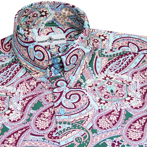 Madcap England Sunrise 60s Mod Psychedelic Paisley High Collar Button Down Shirt in Aqua