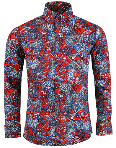 madcap england sunset paisley retro mod shirt red