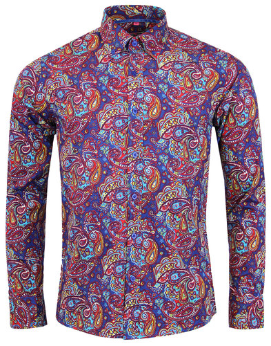madcap england tabla paisley 1960s mod shirt royal