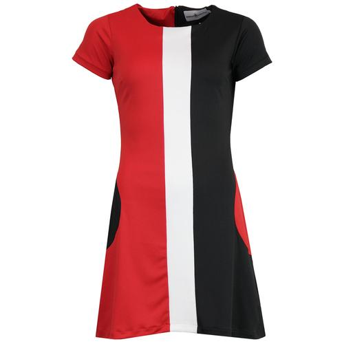 Madcap England Taste Of Honey 1960s Mod Circle Pocket Mini Dress in Black/White/Red