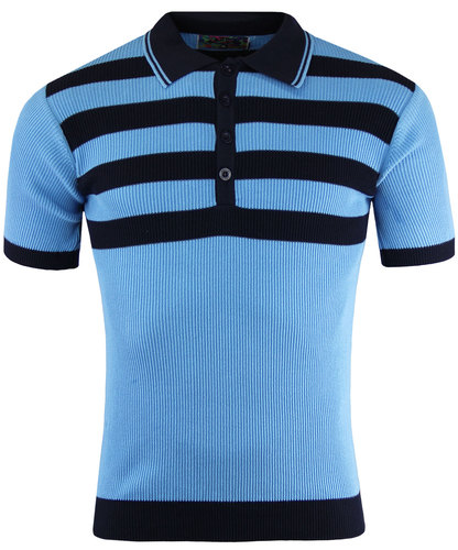 madcap england retro mod ribbed stripe polo sky