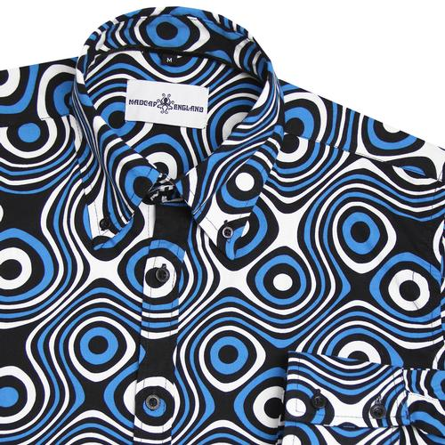 Madcap England Trip Op Art Retro Psychedelic Button Down Shirt in Black/Blue