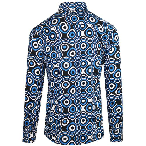 Madcap England Trip Op Art 1960s Psychedelic Button Down Shirt in Black/Blue