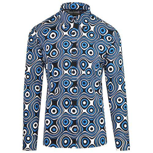 Madcap England Trip Op Art 1960s Mod Psychedelic Button Down Shirt in Black/Blue