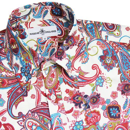 Madcap England Trip 60s Mod Psychedelic Button Down Paisley Shirt in Red/Ecru.