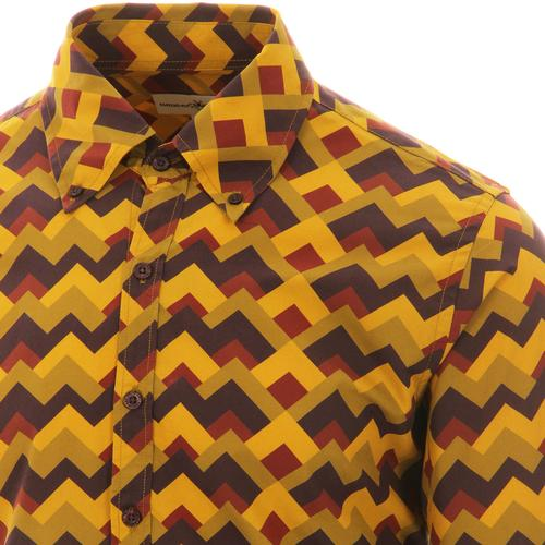 Madcap England Zig Zag Trip Retro 70s Button Down Shirt in Green/Brown