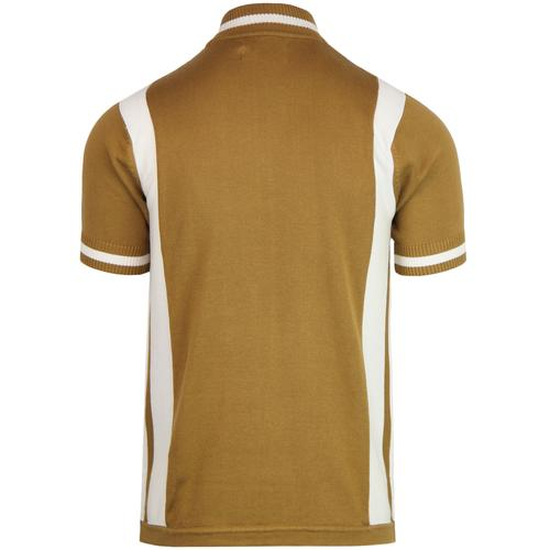 Madcap England Men's Retro 1960s Mod Knit Stripe Panel Cycling Top in Fall Leaf