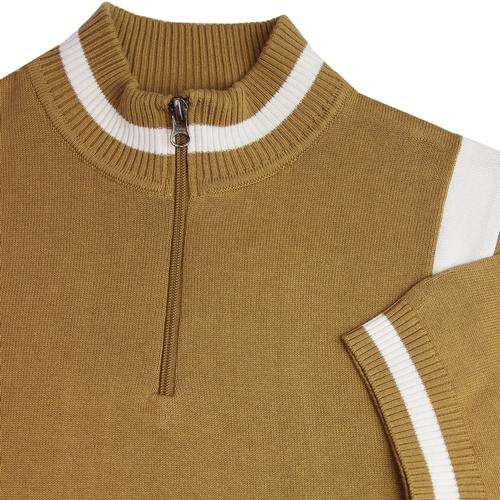 Madcap England Men's Retro 1960s Mod Knit Stripe Panel Zip Neck Cycling Top in Fall Leaf