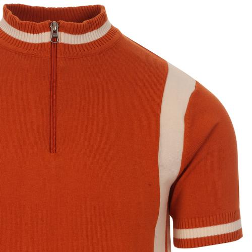 Madcap England Vitesse Retro 60s Mod Knitted Side Stripe Zip Neck Cycling Top in Rust