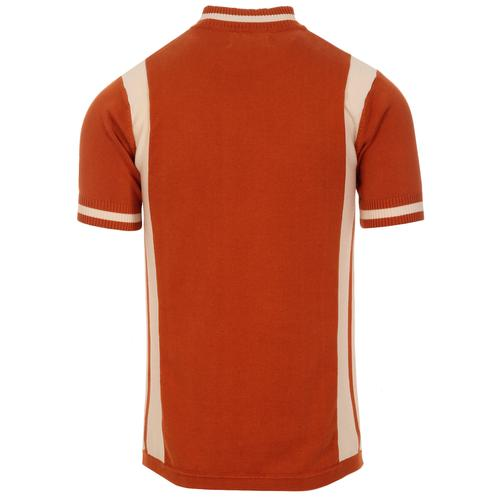 Madcap England Vitesse Retro 60s Mod Knitted Zip Neck Cycling Top in Rust